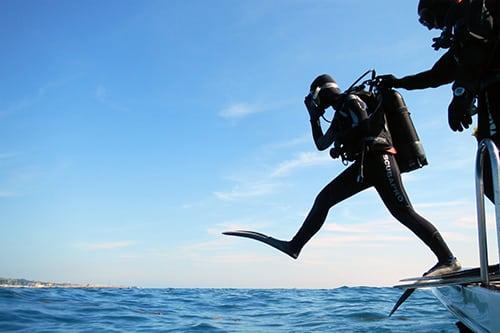 saut droit plongée