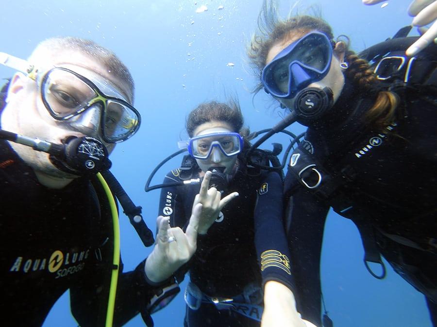 selfie sous l'eau